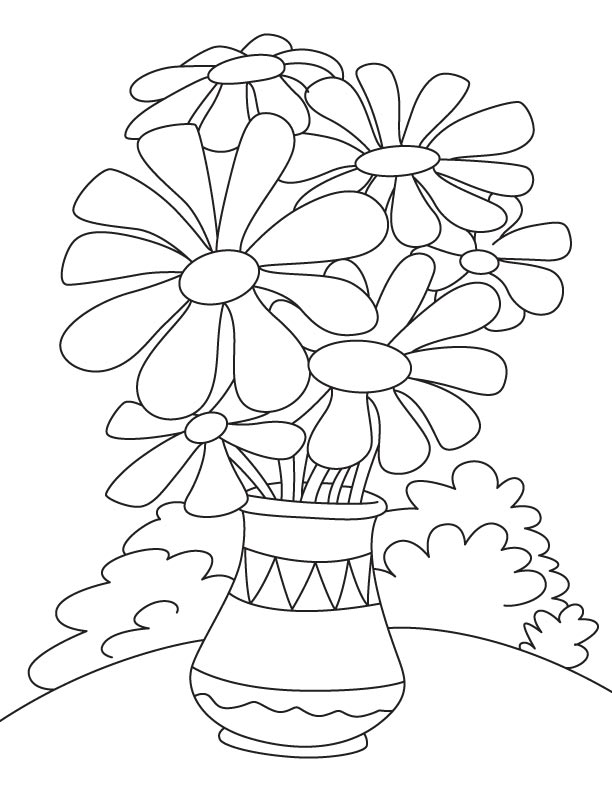 flower pot coloring page download free daisy flower pot coloring