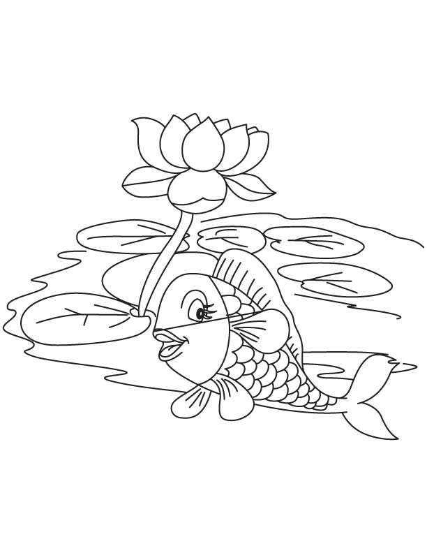 fish with lotus in lake coloring page download free fish with