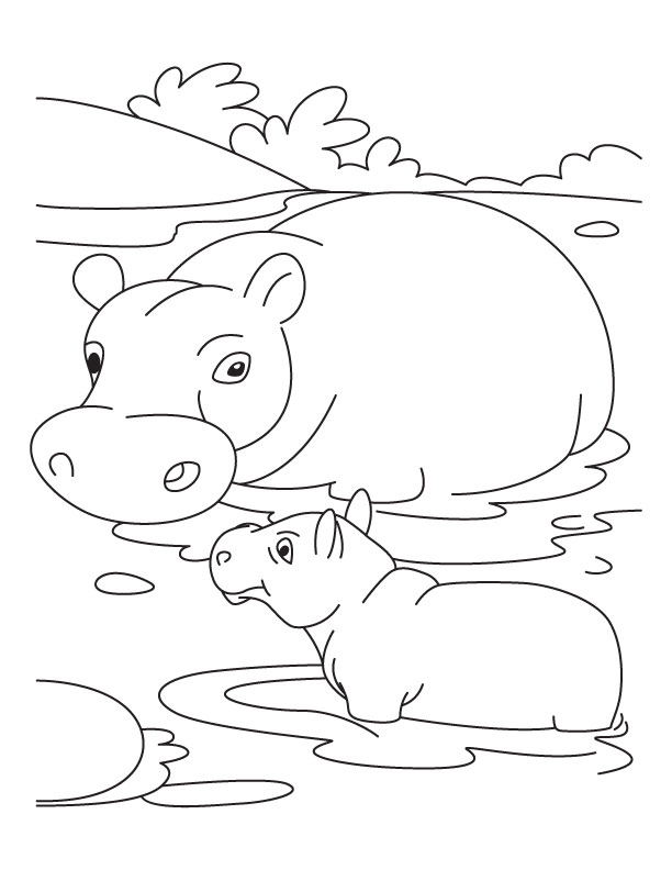 baby hippo with mother hippo coloring pages download free baby