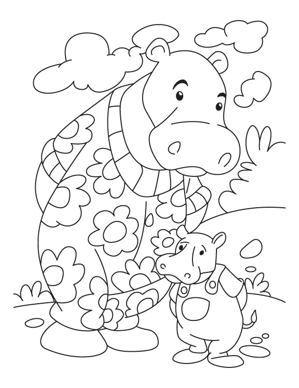 hippo and baby hppo coloring page download free hippo and baby