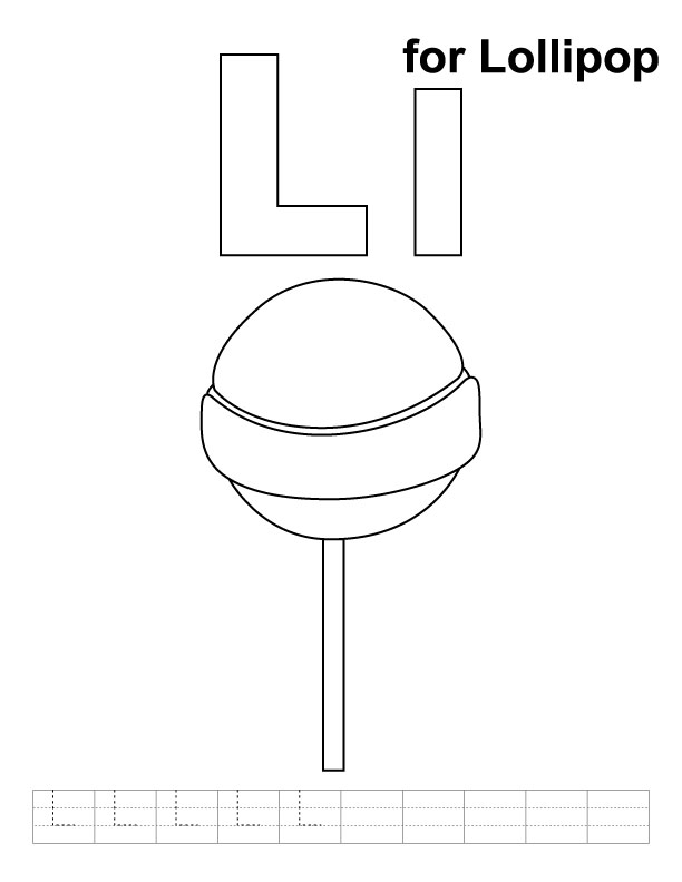 l for lollipop coloring page  handwriting practice