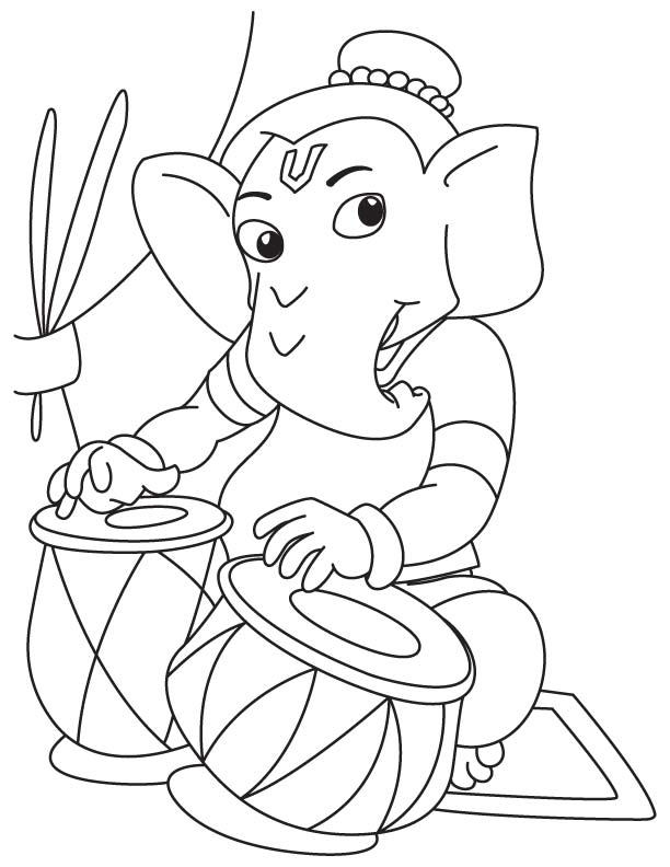 Lord Ganesha Playing Tabla Coloring Page Download Free Lord Ganesha Playing Tabla Coloring Page For Kids Best Coloring Pages