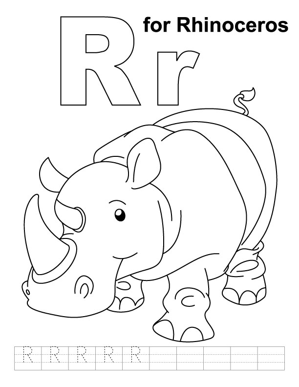 for rhinoceros coloring page with handwriting practice