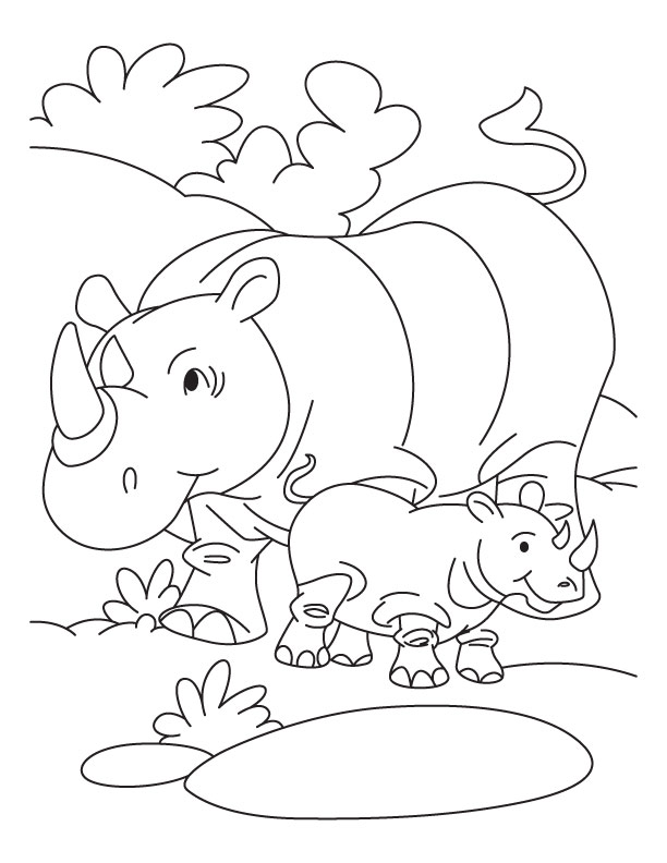 and baby rhinoceros coloring page download free rhinoceros and baby