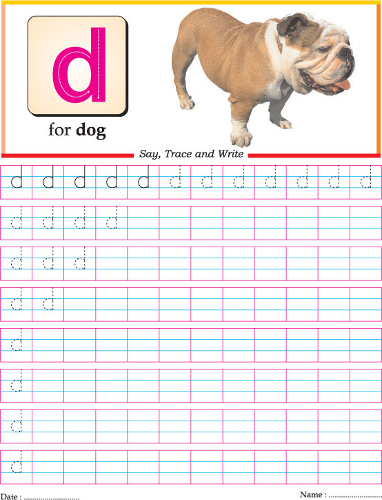 Small Letter D Practice Worksheet Download Free Small