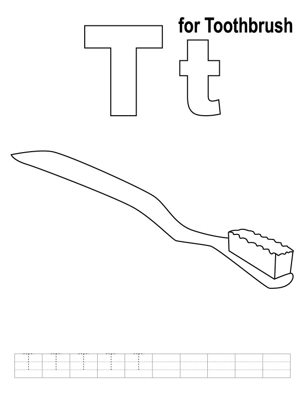 toothbrush coloring page t for toothbrush coloring page with