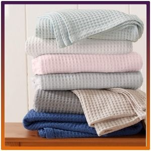 100% Cotton  Thermal Blanket, Waffle Weave, Super Soft Layering.