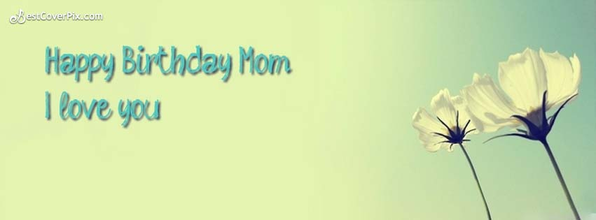 Happy Birthday Mom And I Love You So Much Simple Flower Banner