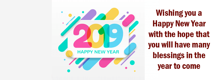 Cute Facebook Cover New Year 2019 Simple with Quote