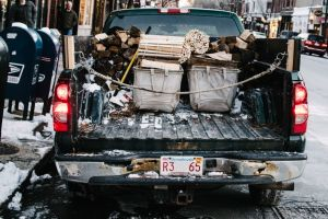 Boxes and bags in the back of a pickup truck