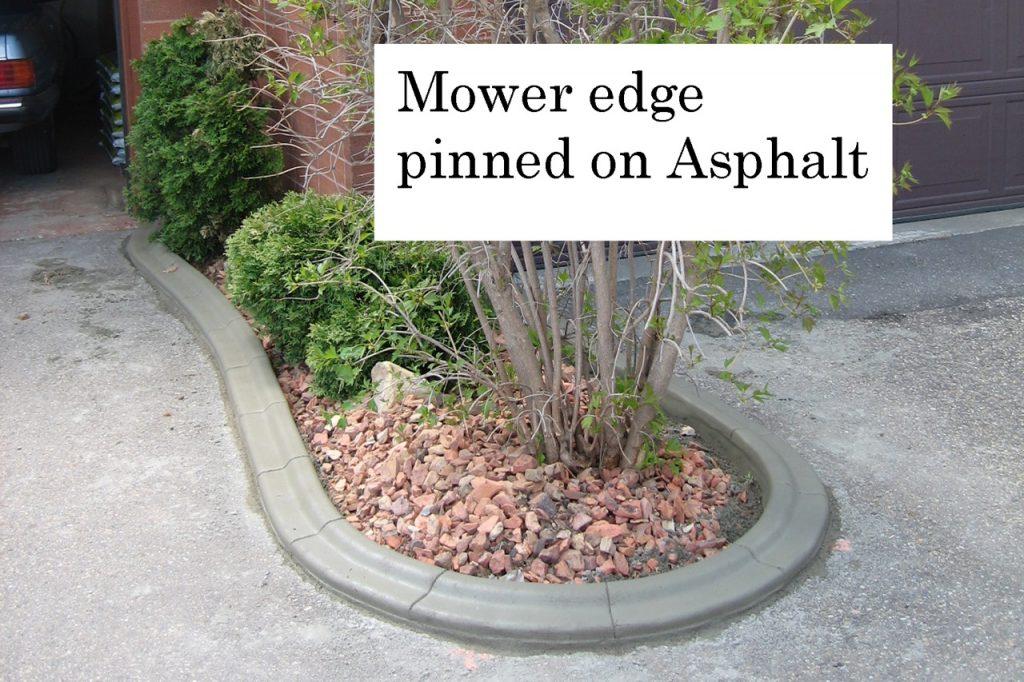 mower edge curb Pinned on asphalt