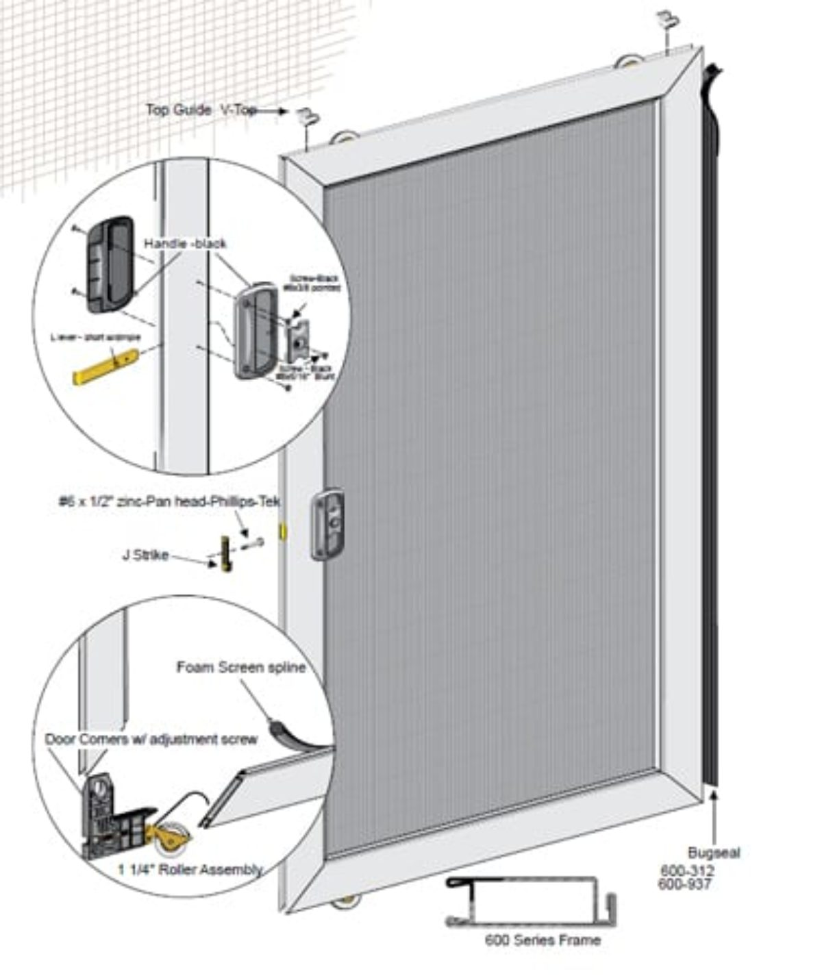 48 x79 unassembled economy sliding screen door kit