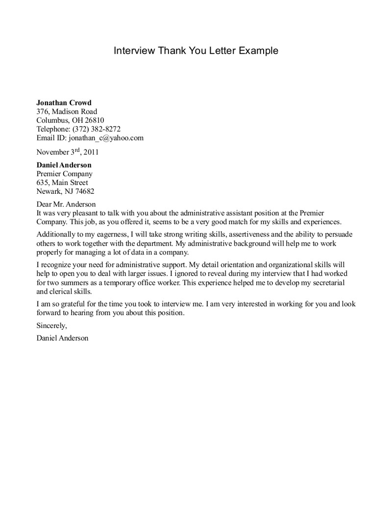 letter after all interviews good or bad they are great ways to