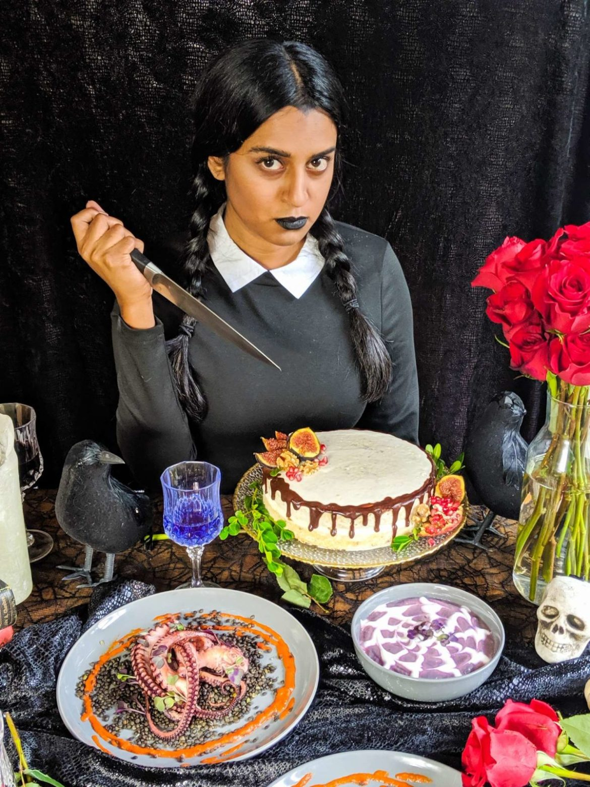 Addams Family Halloween Themed Dinner Party