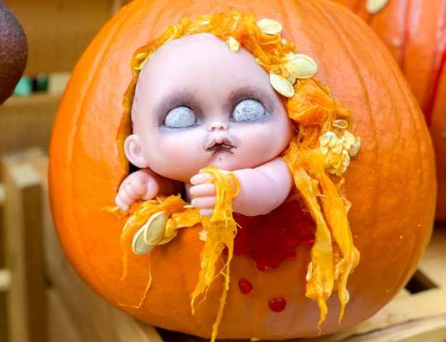 Zombie Baby Pumpkin Carving