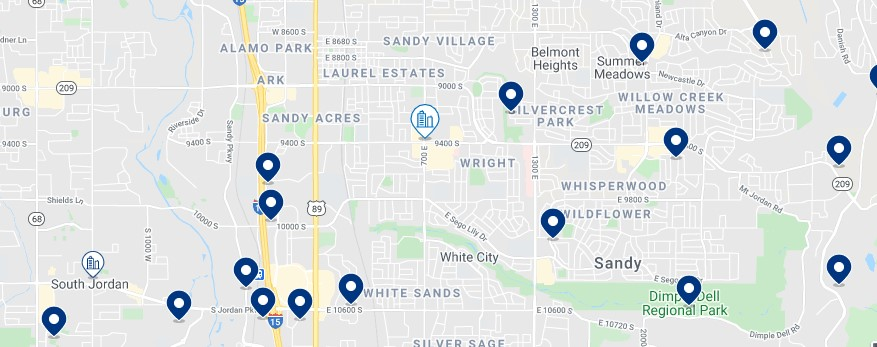 Accommodation in Sandy UT - Click on the map to see all the accommodation in this area
