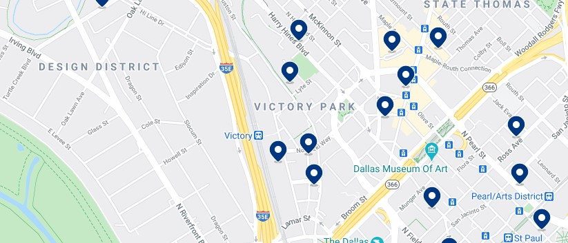 Accommodation in Victory Park - Click on the map to see all available accommodation in this area