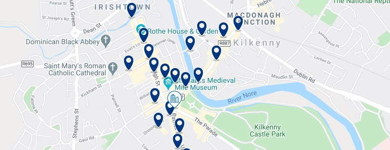 Accommodation in Kilkenny City Centre - Click on the map to see all the accommodation in this area