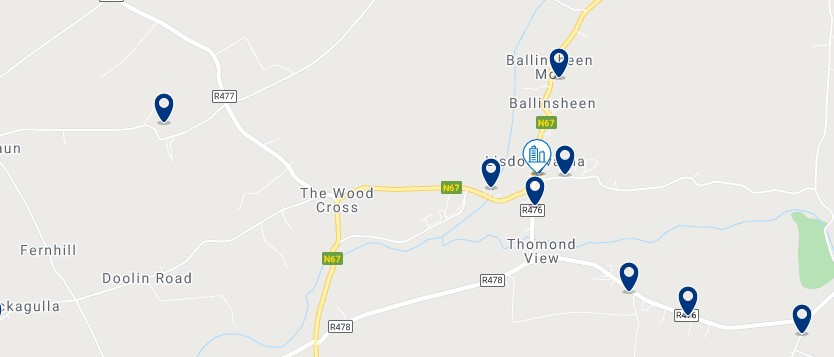 Accommodation in Lisdoonvarna - Click on the map to see all the accommodation in this area