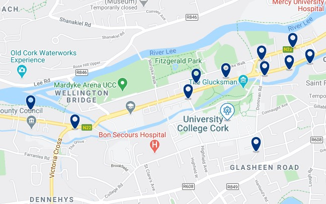 Accommodation around University College Cork - Click on the map to see all the accommodation in this area