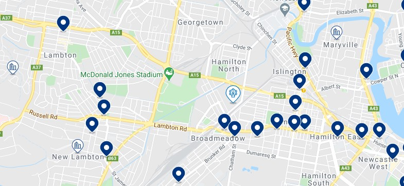 Accommodation in Hamilton, Newcastle, NSW - Click on the map to see all the accommodation in this area