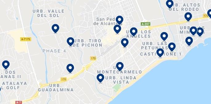 Alojamiento en San Pedro de Alcántara - Haz click en el mapa para ver todo el alojamiento disponible en esta zona