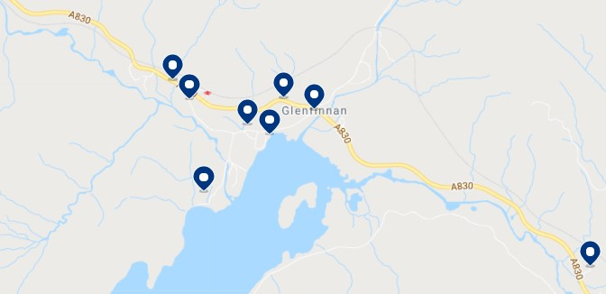 Accommodation in Glenfinnan - Click on the map to see all the available accommodation in this area