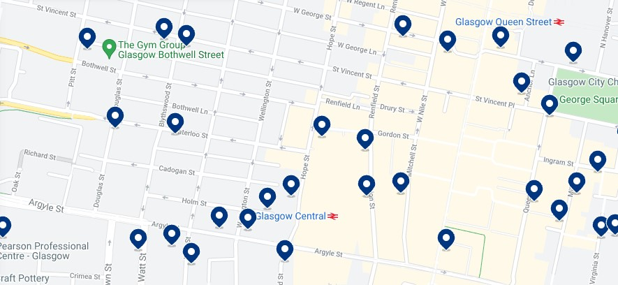 Accommodation in Central Glasgow - Click on the map to see all the available accommodation in this area