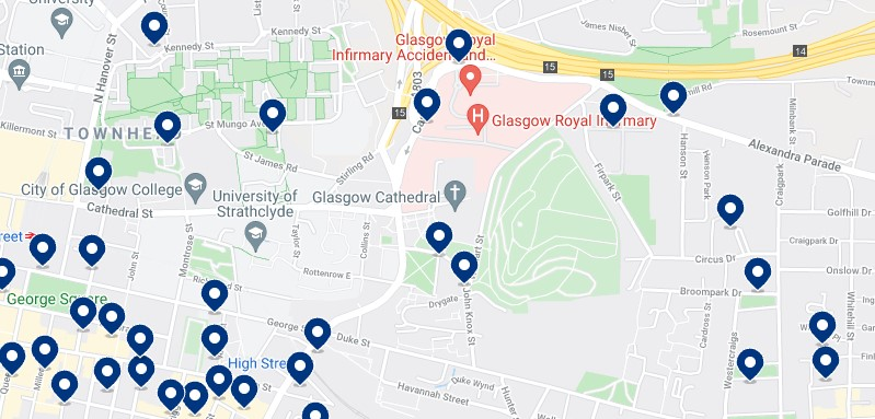 Accommodation in the East End, Glasgow - Click on the map to see all the available accommodation in this area