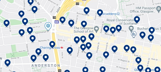 Accommodation near Sauchiehall Street, Glasgow - Click on the map to see all the available accommodation in this area