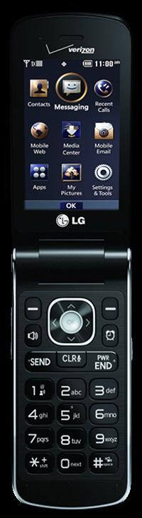 LG Exalt flip phone, open