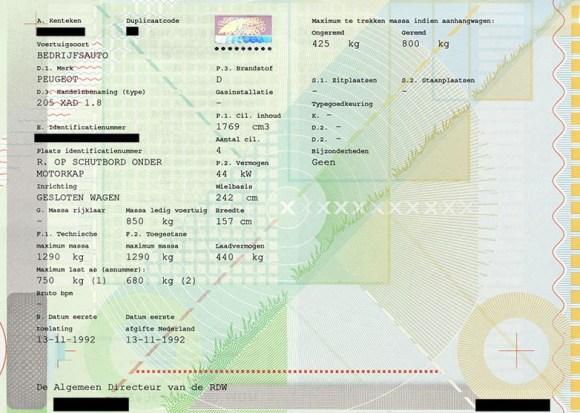 kentekenbewijs deel 1a