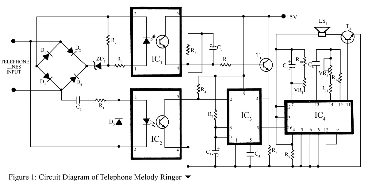 telephone ringer circuit using 555 ic