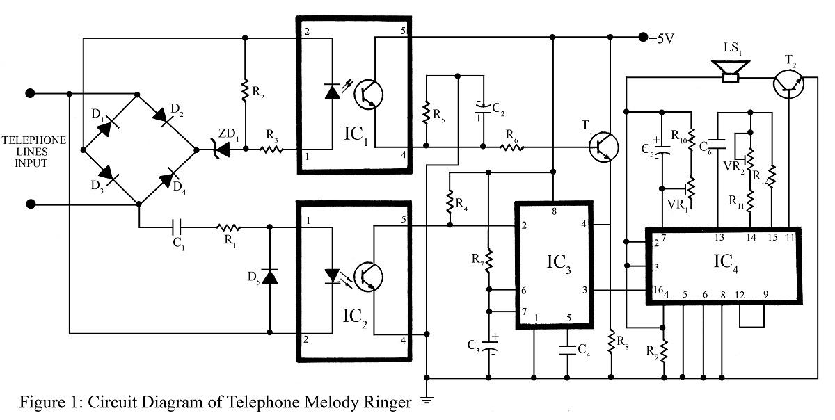 telephone ringer circuit using 555 ic