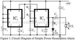 circuit diagram of simple power resumption alarm
