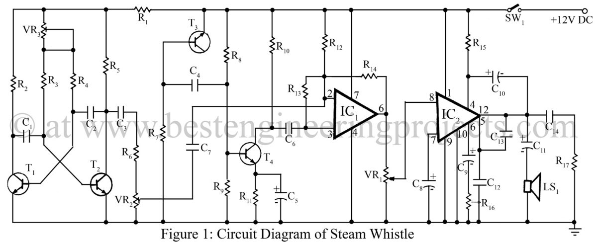steam whistle circuit using 741 ic