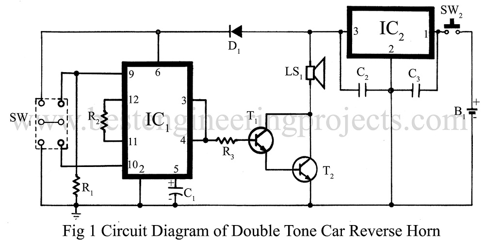 Double tune Car Reverse Horn