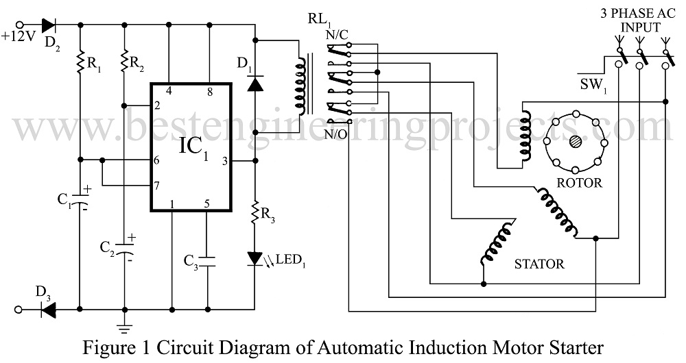 3 phase induction motor starter best engineering projects for 3 phase motor starter circuit
