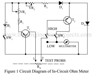 circuit diagram of in-circuit ohmmeter