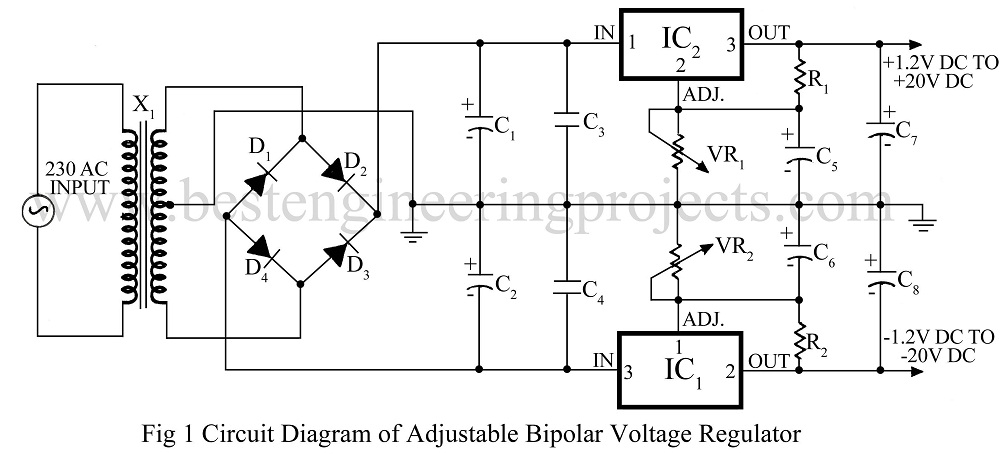 adjustable bipolar voltage regulator circuit using lm337