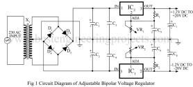 circuit diagram of adjustable bipolar voltage regulator