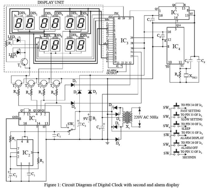 digital alarm clock circuit diagram