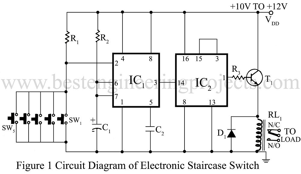circuit diagram of electronics staircase switch