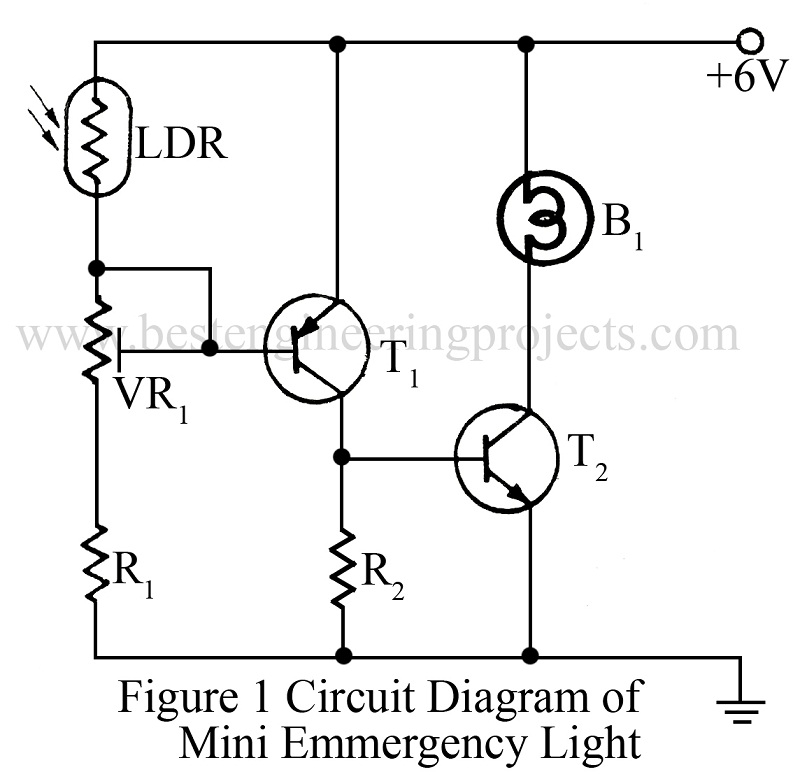 circuit diagram of mini emmergency light