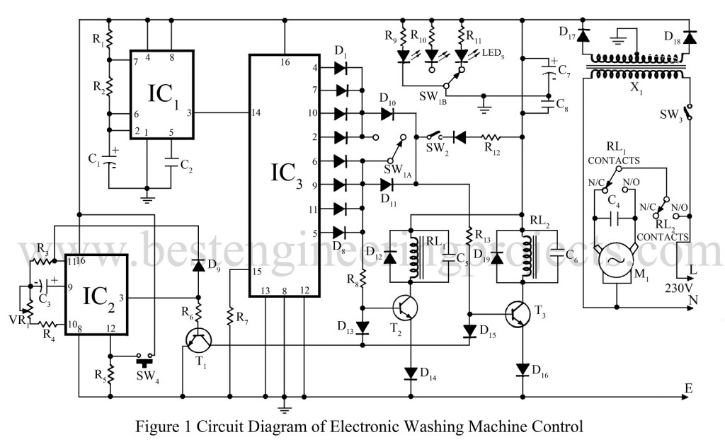 circuit diagram of electronics washing machine control