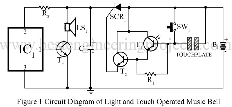 circuit diagram of light and touch operated music bell