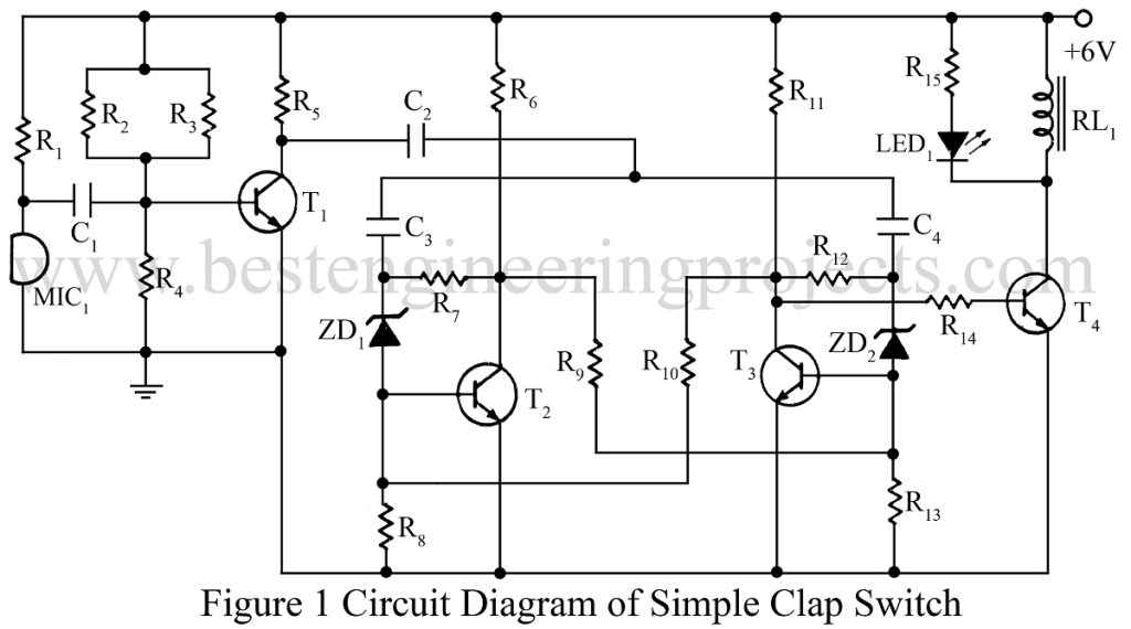 circuit diagram of clap switch