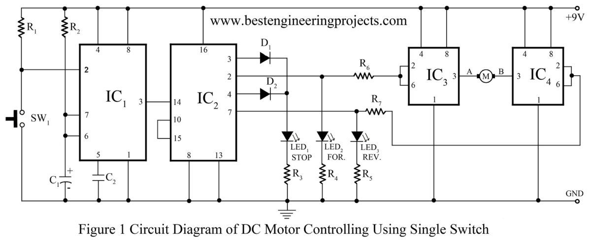 Circuit Diagram Of Dc Motor Control Using Single Switch Driver For Best Engineering Projectsrhbestengineeringprojects