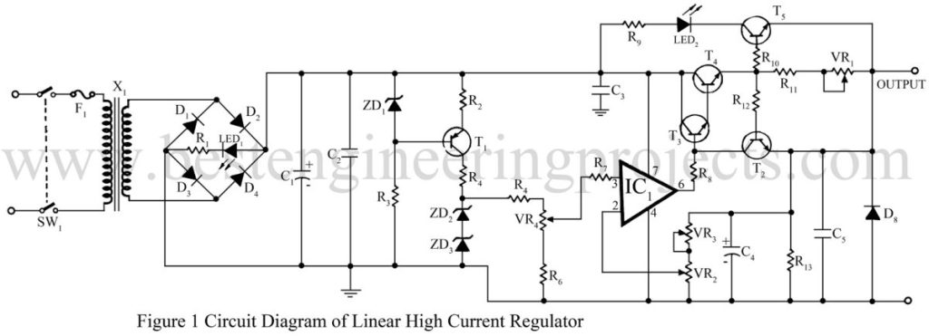 circuit diagram of linear high current regulator