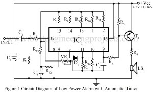 circuit diagram of low power alarm with automatic timer